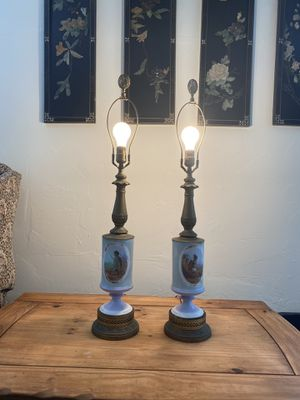 Gorgeous handpainted lamp brass and glass antique for Sale in Fort Lauderdale, FL