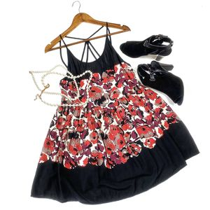Free people small red grey black Strappy floral slip dress for Sale in Olympia, WA