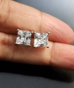 4cts Princess Cut 18kt White Gold Filled Simulated Diamond Stud Earrings for Sale in Aspen Hill, MD