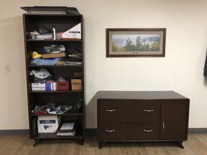 4 piece office furniture set office desk bookshelf printer stand filing cabinet used wood wooden for Sale in Atlanta, GA