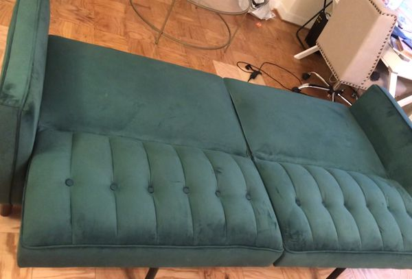 Beautiful emerald green velvet sleeper sofa!!!