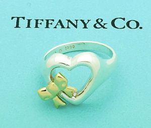 Tiffany & Co. 925 Sterling Silver & 18k Gold Heart Ribbon Bow Ring Sz 4.25 for Sale in Gaston, OR