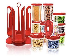 NEW! 25-Piece Food Storage Container Set with Rotating Rack, Durable Plastic Canister Jar with Red Lids, Perfect for Flour, Sugar, Cereals, BPA Free, for Sale in Stuart, FL