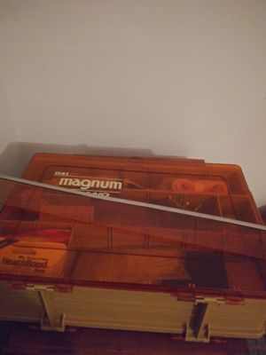 Vintage magnum 2sided fishing box loaded sewing stuff for Sale in St. Petersburg, FL