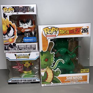 Pikachu, Dragonball Z Shenron, Venomized ghost rider funko pop for Sale in Oakley, CA