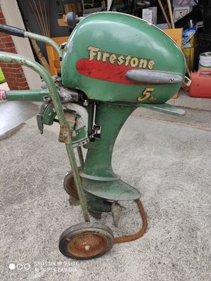 Firestone 5hp outboard motor, stand and tank for Sale in St. Clair Shores, MI