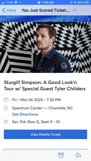Sturgill Simpson Tyler Childers Tickets (2) for Sale in Summerfield, NC