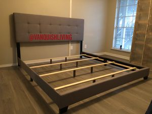 NEW GRAY BUTTON TUFTED BED FRAME - TWIN FULL QUEEN SIZE - ORDER NOW! 💻 for Sale in Houston, TX