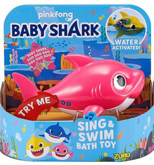Robo Alive Junior Baby Shark Battery-Powered Sing and Swim Bath Toy by ZURU - Mommy Shark (Pink) for Sale in Norwich, NY