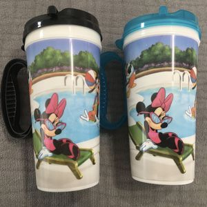 2 Walt Disney World WDW Resort Refill Mug Travel Cup handle lid Parks Pool Scene for Sale in Plainfield, IL