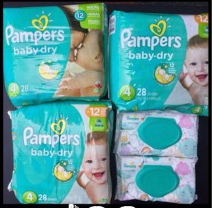Pampers Diapers size 4 (84 count) & Pampers wipes (112 count) $25 for Sale in Lake Forest, CA