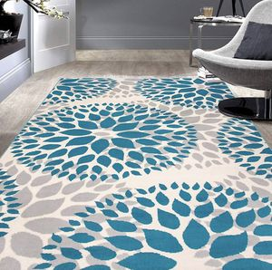 Modern Rug with Floral Circles Design Area Rug 5'x 7' Living Room Carpet - Turqoise and Off white for Sale in MONTGOMRY VLG, MD