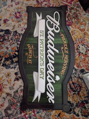 Budweiser beer sign st Patrick day for Sale in Springfield, PA