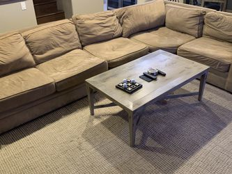 Pottery Barn Sectional Microfiber , With Rug And Coffee Table for Sale in San Diego,  CA