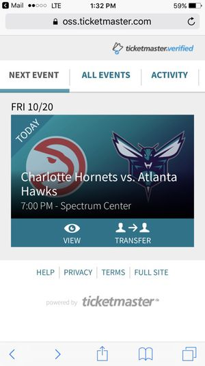 TICKETS FOR Charlotte Hornets Vs Atlanta Hawks tonightS GAME for Sale in Charlotte, NC
