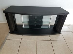 Black tv stand with glass shelves!! for Sale in Saginaw, TX