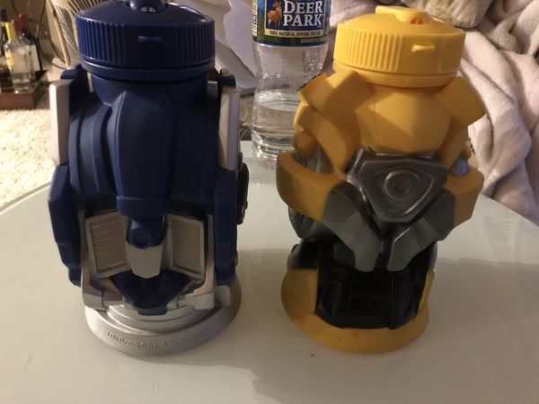 Transformers Bumblebee & Optimus Prime Universal Studios Tumbler Thermos Drink Cup Molded - Head High Quality