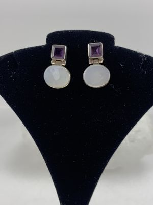 Beautiful amethyst stone and Moonstone silver earrings for Sale in Plainfield, IL