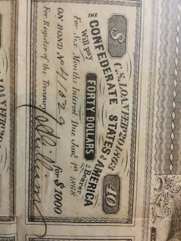 Authentic C S A $1000 War Bond for Sale in Chattanooga, TN - OfferUp