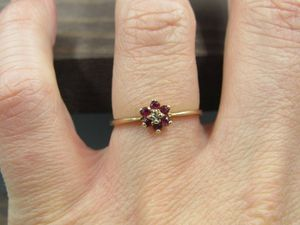 Size 7.5 10K Gold Cluster Ruby & Diamond Band Ring Vintage Estate Wedding Engagement Anniversary Gift Idea Beautiful Elegant Unique Cute for Sale in Bothell, WA