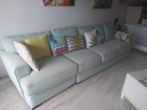 """Couch sofa sectional piece. Use as one couch or separate out. Small piece is 36"""" large is 72"""" . teal turquoise blue aqua color. Fabric. $170 for Sale in Highland Beach, FL"""
