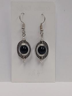 Silver Oval Earrings (with colored beads) for Sale in Waco,  TX