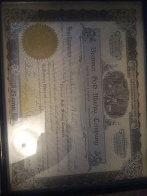 Antique Alaska gold mining stalk certificate 1931 for Sale in Anchorage, AK