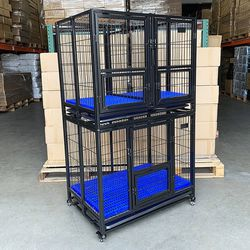 """$270 (new in box) stacking dog crate 37""""x25""""x64"""" heavy-duty cage folding kennel w/ plastic tray (set of 2) for Sale in Whittier,  CA"""