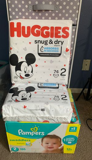 Huggie pampers & pamper swaddlers size 2 for Sale in Perris, CA