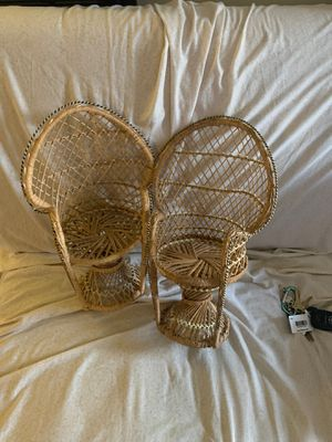 Wooden woven chairs for Sale in Fresno, CA