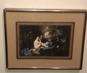 "VINTAGE "" LE DEJEUNER SUR l'HERBE"" MINIATURE FRAMED FRENCH PRINT for Sale in The Bronx, NY"