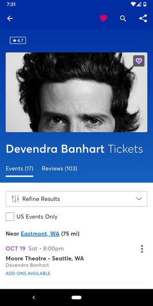 Devendra Banhart at the Moore Theatre on 10/19 for Sale in Seattle, WA