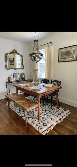 Vintage dining table and 2 black chalk chairs for Sale in Nashville, TN