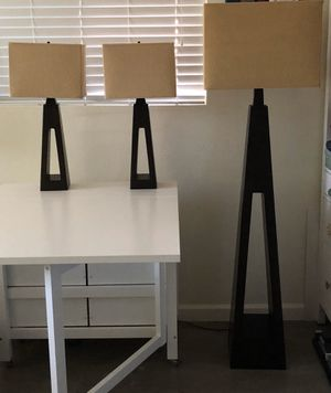 Pier One wood lamp set with linen shades for Sale in Phoenix, AZ
