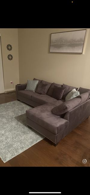Couch for sale. Includes pillows and rug! for Sale in Houston, TX