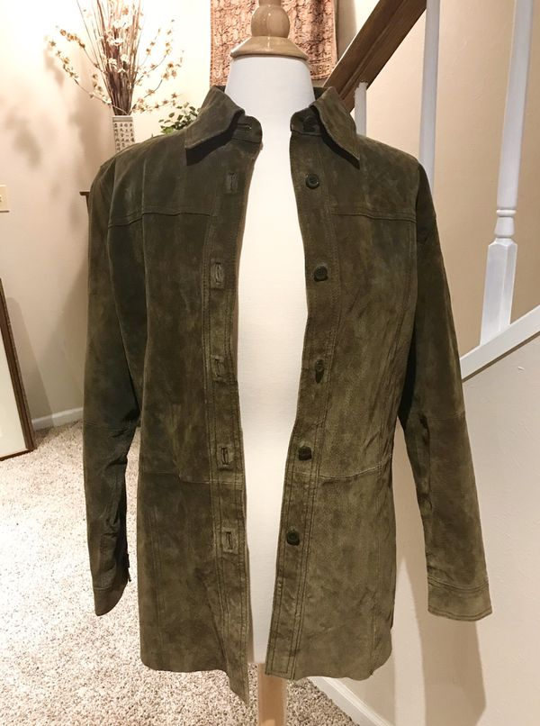 Women's Nygard Collection Suede Shirt Jacket Forest Green Size 10