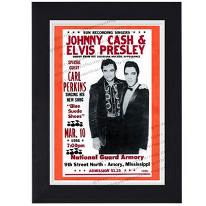 Elvis Presley Johnny Cash Carl Perkins Live Classic Rock country print mini concert poster flyer music for Sale in Covina, CA