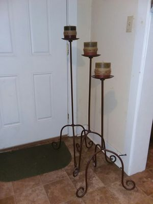 3 black and brown floor lamps with candles for Sale in Selma, NC