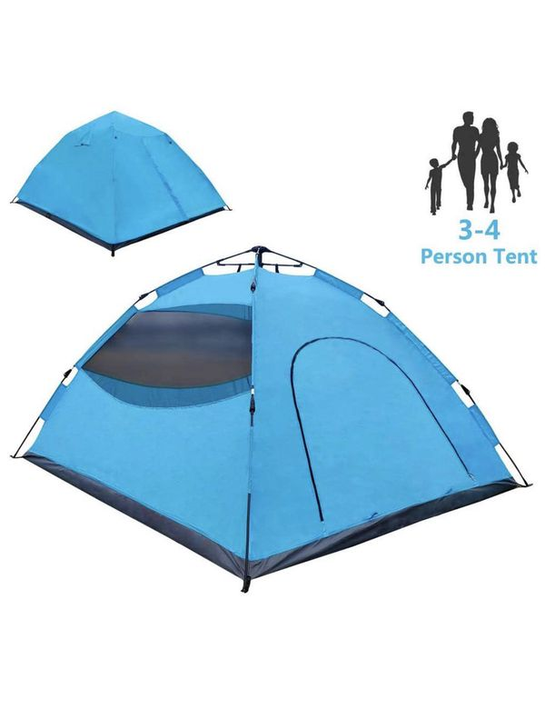 Pop Up Tent, Tents for Camping 3-4 Person - 30 Seconds Easy Up Camping Tent, Waterproof Instant Backpacking Tent for Outdoor Hiking, Climbing, Travel