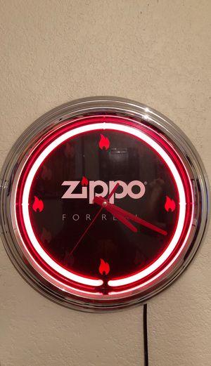 Neon Zippo Hang Clock for Sale in Houston, TX