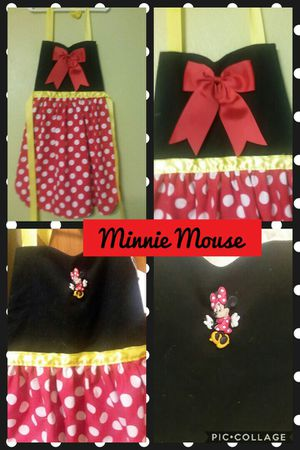 Disney New Minnie Mouse Red Polka Dot Dress Up Apron Handmade 3 Sizes Available for Sale in St. Louis, MO
