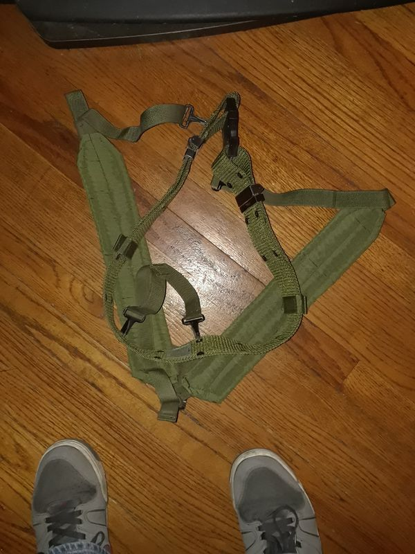 Us army suspenders with web belt
