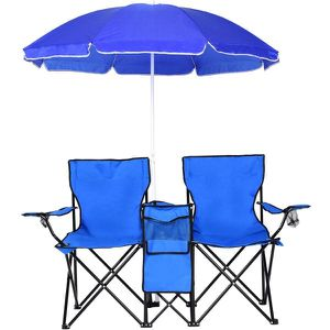 Portable Folding Picnic Double Chair w/ Umbrella for Sale in Ontario, CA