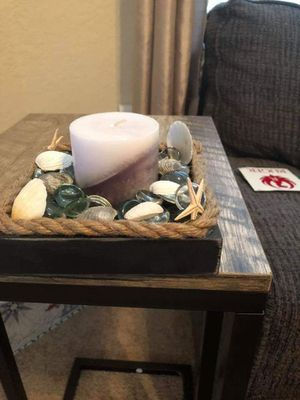 Square wood base with glass candle holder for Sale in Palm Harbor, FL