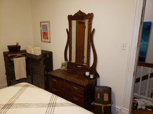 Antique tiger wood look 2 drawer hutch with mirror for Sale in Washington, DC