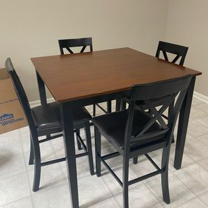 Kitchen Table, Brown/Black, 4 Chairs for Sale in Raleigh, NC