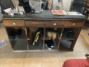 Long Antique wooden counter top height cabinet for Sale in Levittown, NY