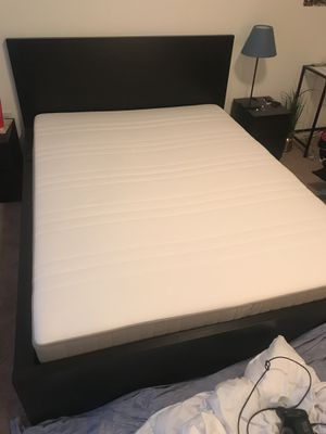 IKEA Mattress and black bed frame for Sale in Alexandria, VA
