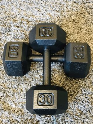 30 POUND IRON HEX DUMBBELLS WEIGHTS• for Sale in Las Vegas, NV