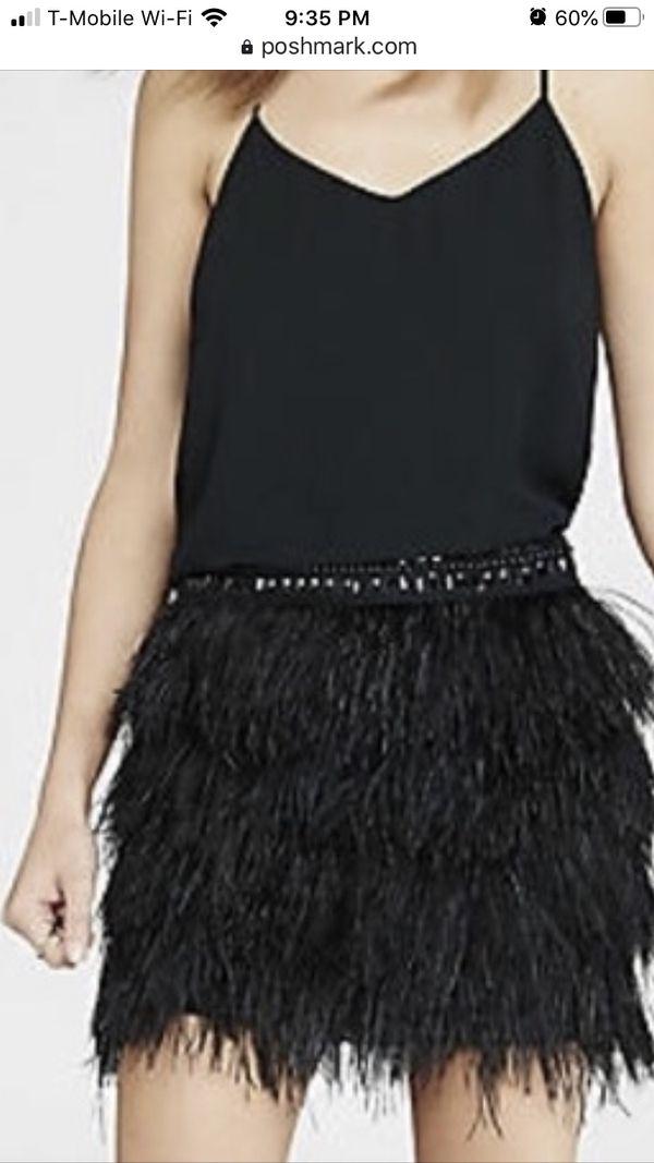 Ostrich feather Express mini skirt